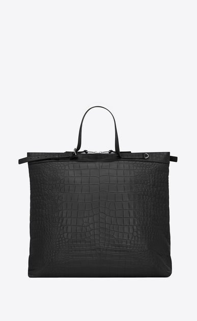 SAINT LAURENT ID bags Man ID shopping bag in black crocodile embossed leather b_V4