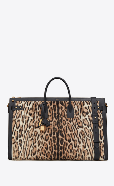 SAINT LAURENT Sac de Jour Men Man Sac de Jour Souple 72h duffle bag in beige and black ocelot-look calfskin a_V4