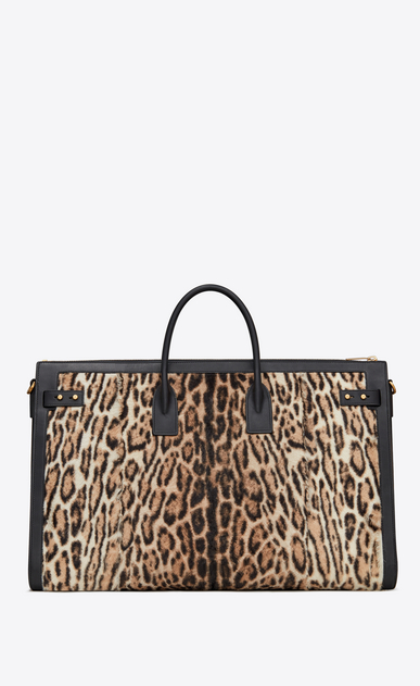 SAINT LAURENT Sac de Jour Men Man Sac de Jour Souple 72h duffle bag in beige and black ocelot-look calfskin b_V4