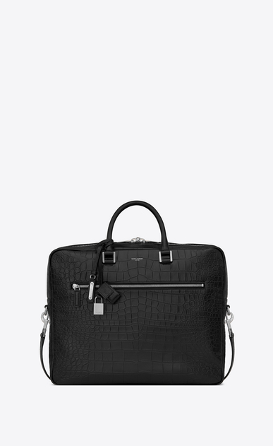 SAINT LAURENT Sac de Jour Men Man Sac de Jour Large briefcase in crocodile embossed leather a_V4