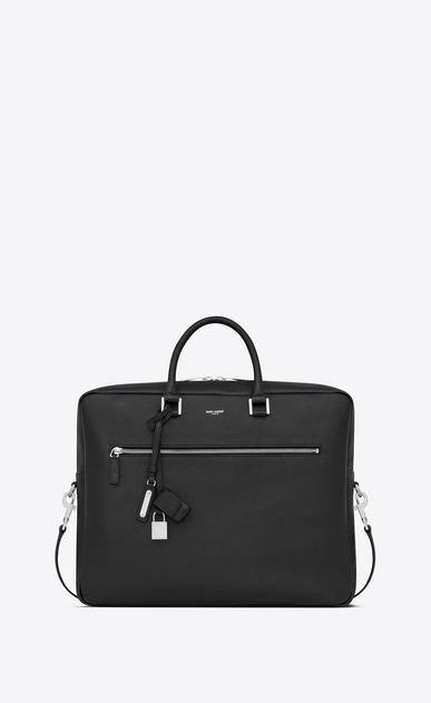 SAINT LAURENT Sac de Jour Men Homme Grand porte-documents SAC DE JOUR SOUPLE en cuir grainé noir a_V4