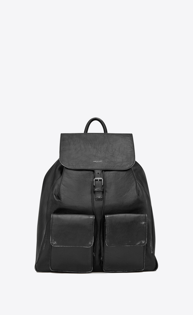 SAINT LAURENT Backpack Man Nino backpack in black vintage leather a_V4