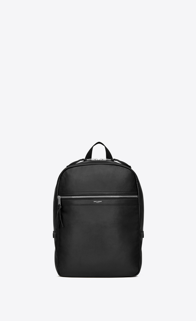 SAINT LAURENT Backpack Uomo City backpack in soft black leather a_V4