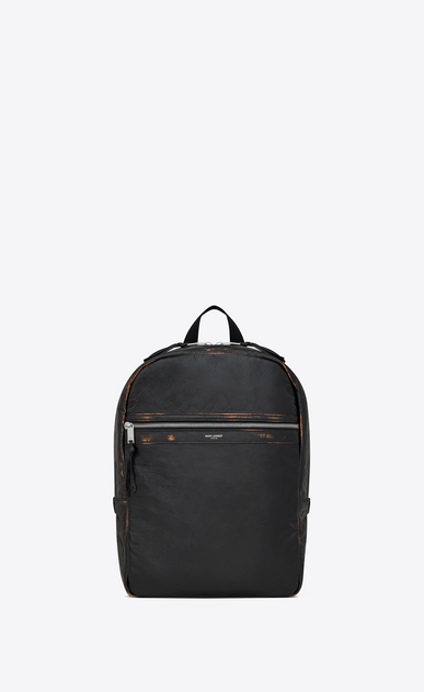 SAINT LAURENT Backpack Uomo City backpack in black and cognac vintage leather a_V4