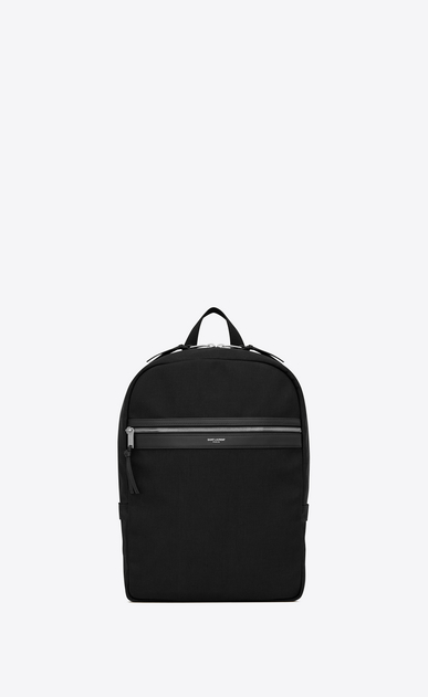 SAINT LAURENT Backpack Man CITY backpack in black canvas a_V4