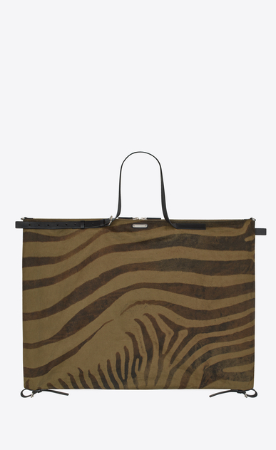 SAINT LAURENT Business Man Simple ID bag in zebra print khaki gabardine and black leather a_V4