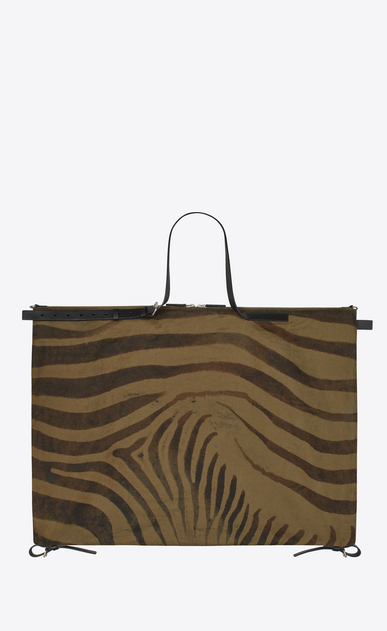 SAINT LAURENT Business Man Simple ID bag in zebra print khaki gabardine and black leather b_V4