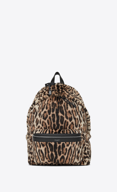 SAINT LAURENT Backpack Man City backpack in black and beige ocelot-look calfskin a_V4