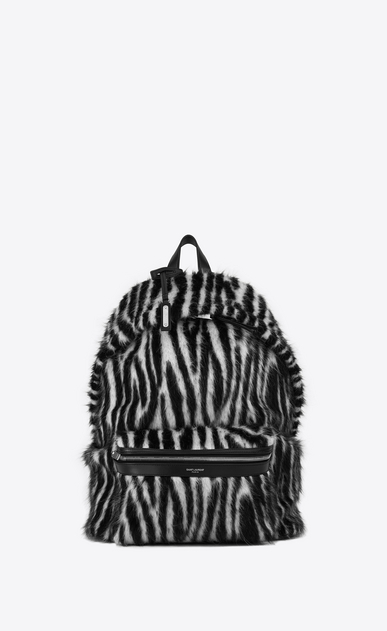 SAINT LAURENT Backpack Man City backpack in black and white zebra jacquard a_V4