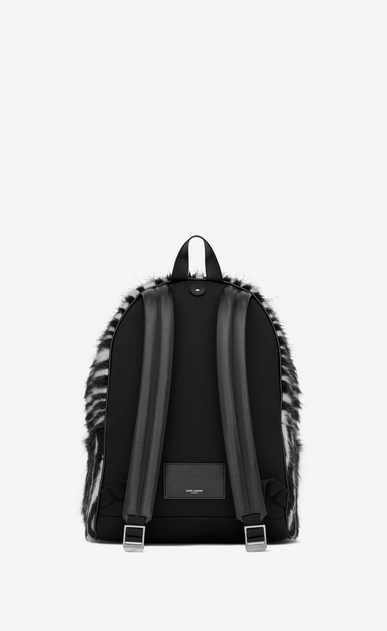 SAINT LAURENT Backpack Man City backpack in black and white zebra jacquard b_V4