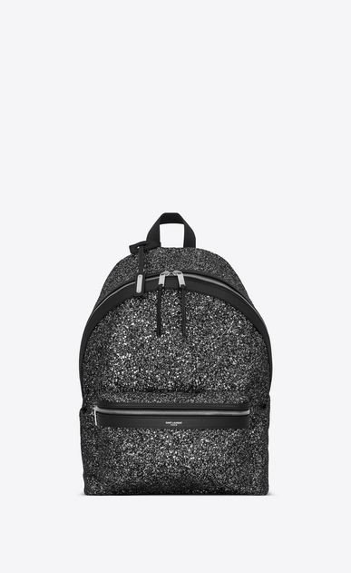 SAINT LAURENT Backpack Man City backpack in silvery black glitter a_V4