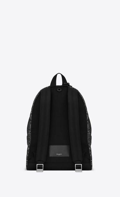 SAINT LAURENT Backpack Man City backpack in silvery black glitter b_V4
