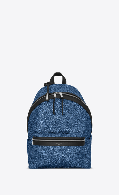 SAINT LAURENT Backpack Man City backpack in blue glitter a_V4