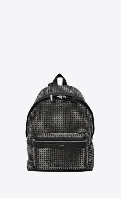 SAINT LAURENT Backpack Man City backpack in black leather with micro-studs and eyelets a_V4