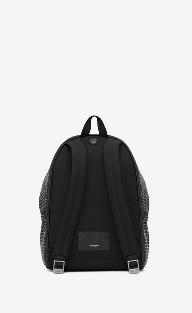 SAINT LAURENT Backpack Man City backpack in black leather with micro-studs and eyelets b_V4