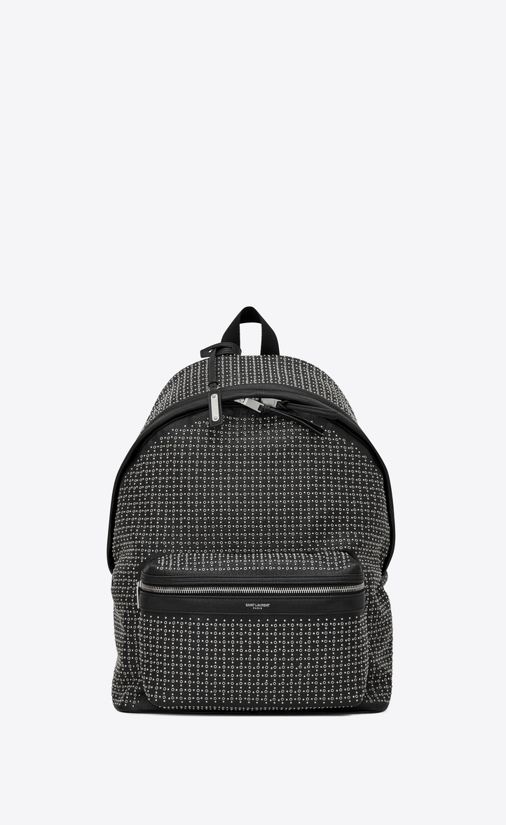 SAINT LAURENT CITY BACKPACK IN BLACK LEATHER WITH MICRO-STUDS AND EYELETS