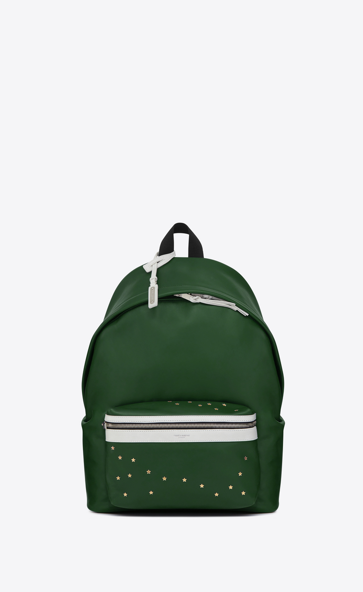 SAINT LAURENT CITY BACKPACK IN DARK GREEN AND WHITE LEATHER