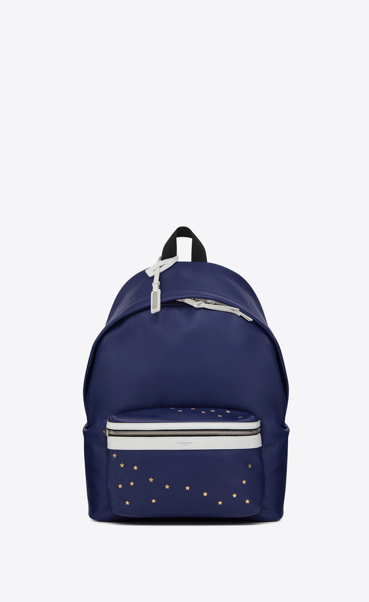 SAINT LAURENT CITY BACKPACK IN NAVY BLUE AND WHITE LEATHER