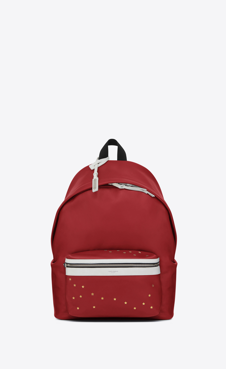 SAINT LAURENT CITY BACKPACK IN DARK RED AND WHITE LEATHER