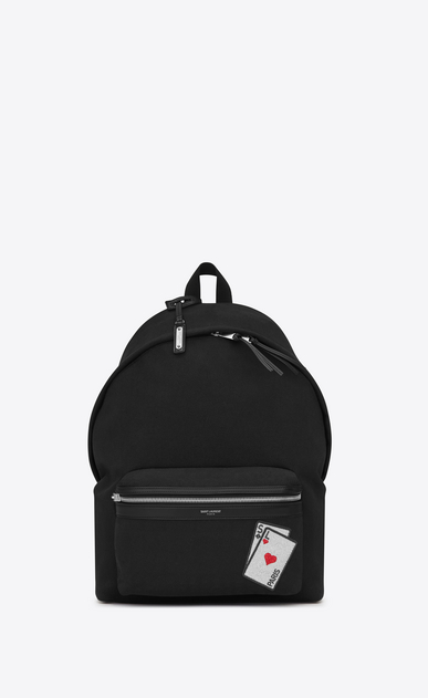 SAINT LAURENT Backpack Man SL playing cards City backpack in black canvas a_V4