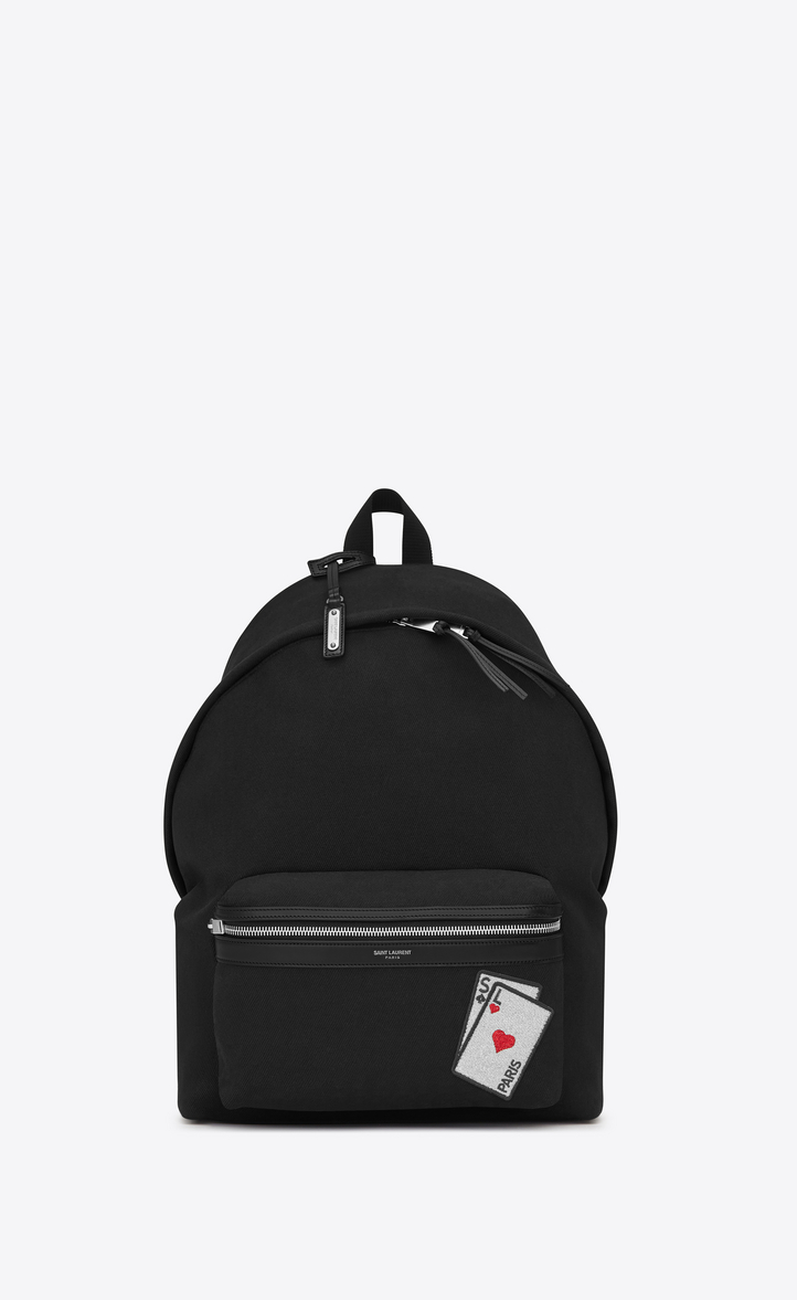 SAINT LAURENT SL PLAYING CARDS CITY BACKPACK IN BLACK CANVAS