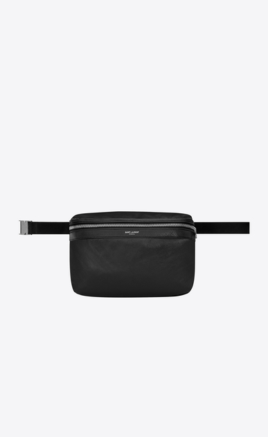 SAINT LAURENT Backpack Man Foldable City backpack in soft black leather a_V4