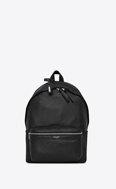 SAINT LAURENT Backpack Man Foldable City backpack in soft black leather b_V4