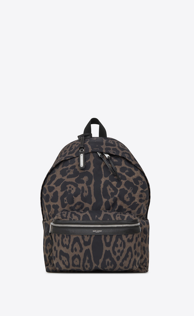 SAINT LAURENT Backpack Man Foldable City backpack in leopard print nylon a_V4