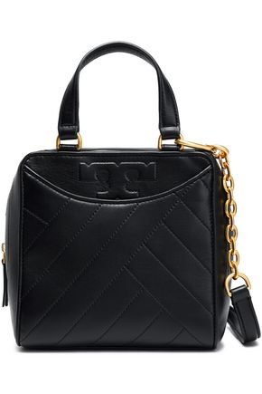 TORY BURCH Chain-trimmed leather shoulder bag