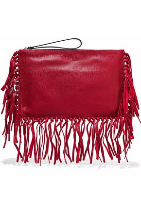 VALENTINO Fringe-trimmed textured-leather clutch