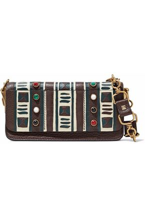 VALENTINO Embellished printed pebbled-leather shoulder bag