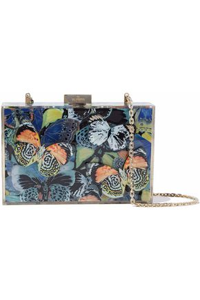 VALENTINO Camubutterfly appliquéd printed acrylic clutch