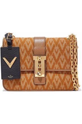 VALENTINO B-Rockstud leather-paneled jacquard shoulder bag