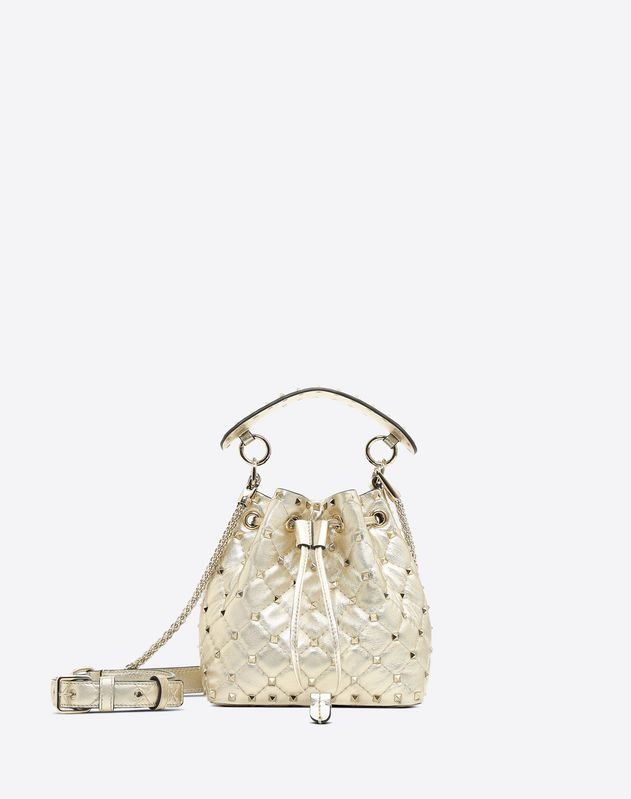 Small Metallic Spike Bucket Bag