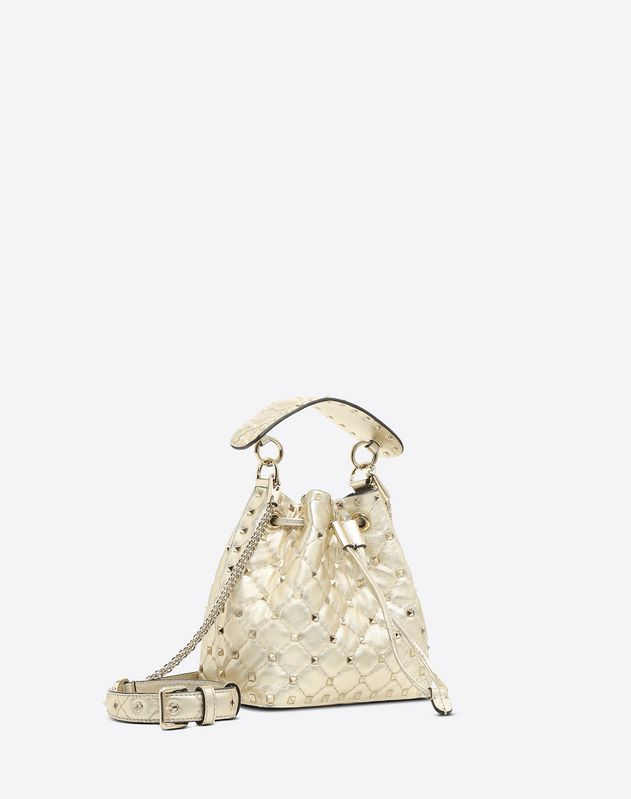 Metallic Rockstud Spike Small Bucket Bag