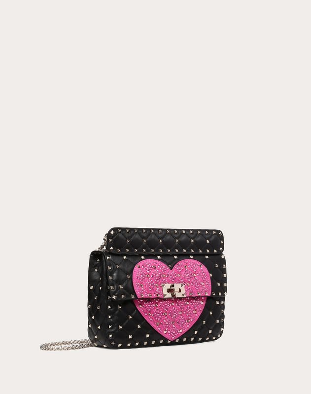 Medium Crystal Heart Spike Bag