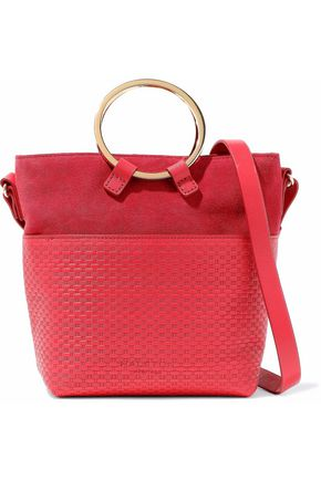 HALSTON HERITAGE Nubuck-paneled embossed leather shoulder bag