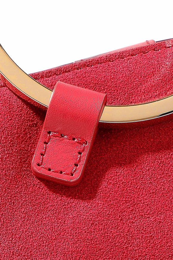 259effa99816 Nubuck-paneled embossed leather shoulder bag
