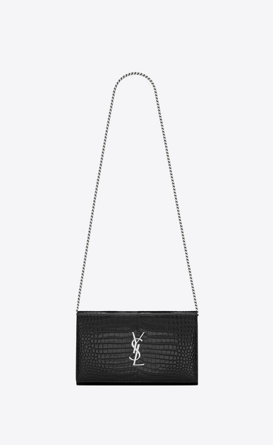 SAINT LAURENT Mini bags Monogramme Woman chain wallet in water black crocodile -embossed shiny leather a_V4