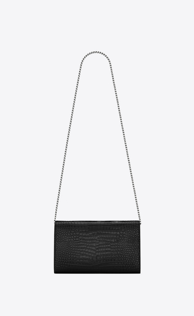 SAINT LAURENT Mini bags Monogramme Woman chain wallet in water black crocodile -embossed shiny leather b_V4