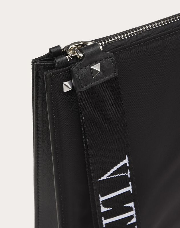 NYLON CLUTCH WITH VLTN RIBBON STRAP