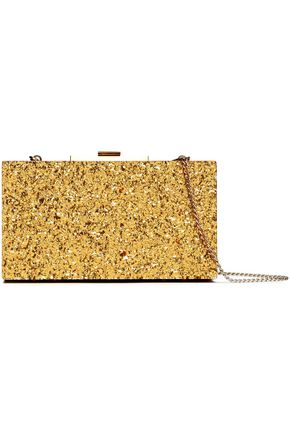 HALSTON HERITAGE Glittered PVC box clutch