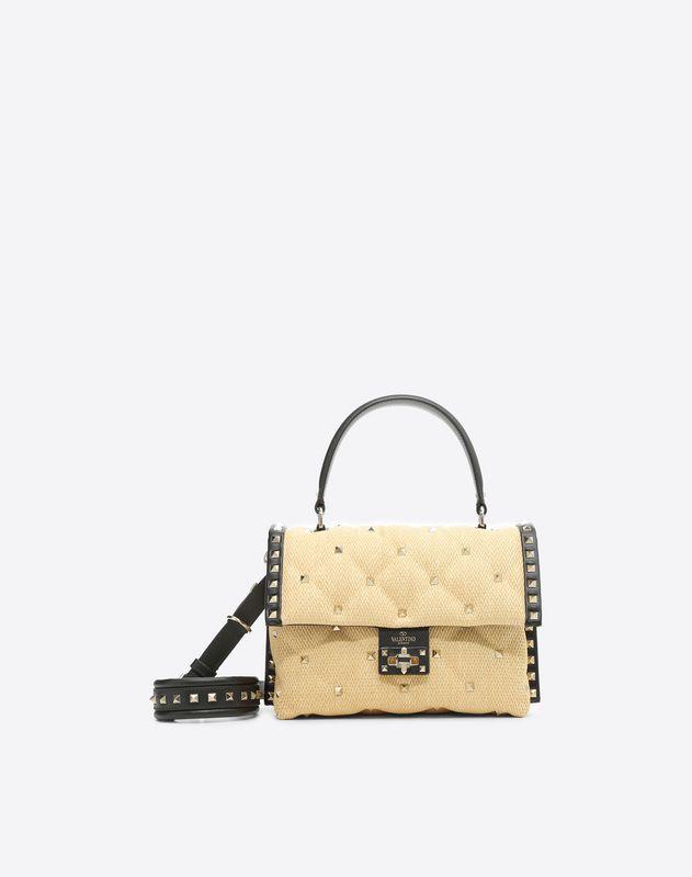 Raffia Candystud Top Handle Bag