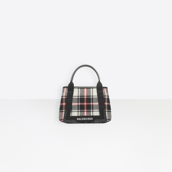 Navy Cabas S Wool Check