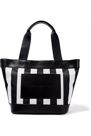 ALEXANDER WANG Leather-trimmed striped canvas tote