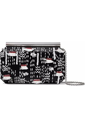 OSCAR DE LA RENTA Embellished embroidered satin clutch