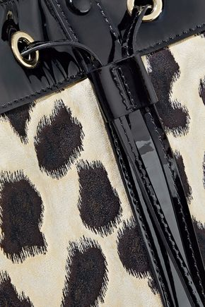 EMPORIO ARMANI Patent leather-trimmed leopard-print twill bucket bag