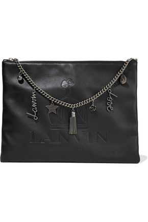 LANVIN Embellished embossed leather clutch