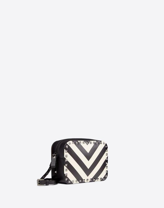 Striped Rockstud Camera Bag
