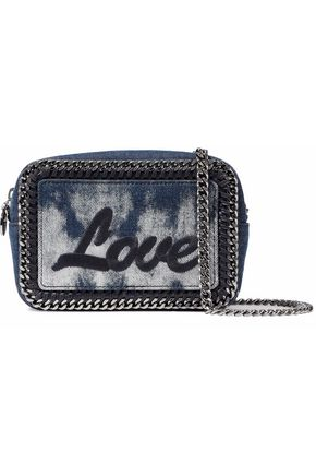 STELLA McCARTNEY Falabella embroidered bleached denim shoulder bag